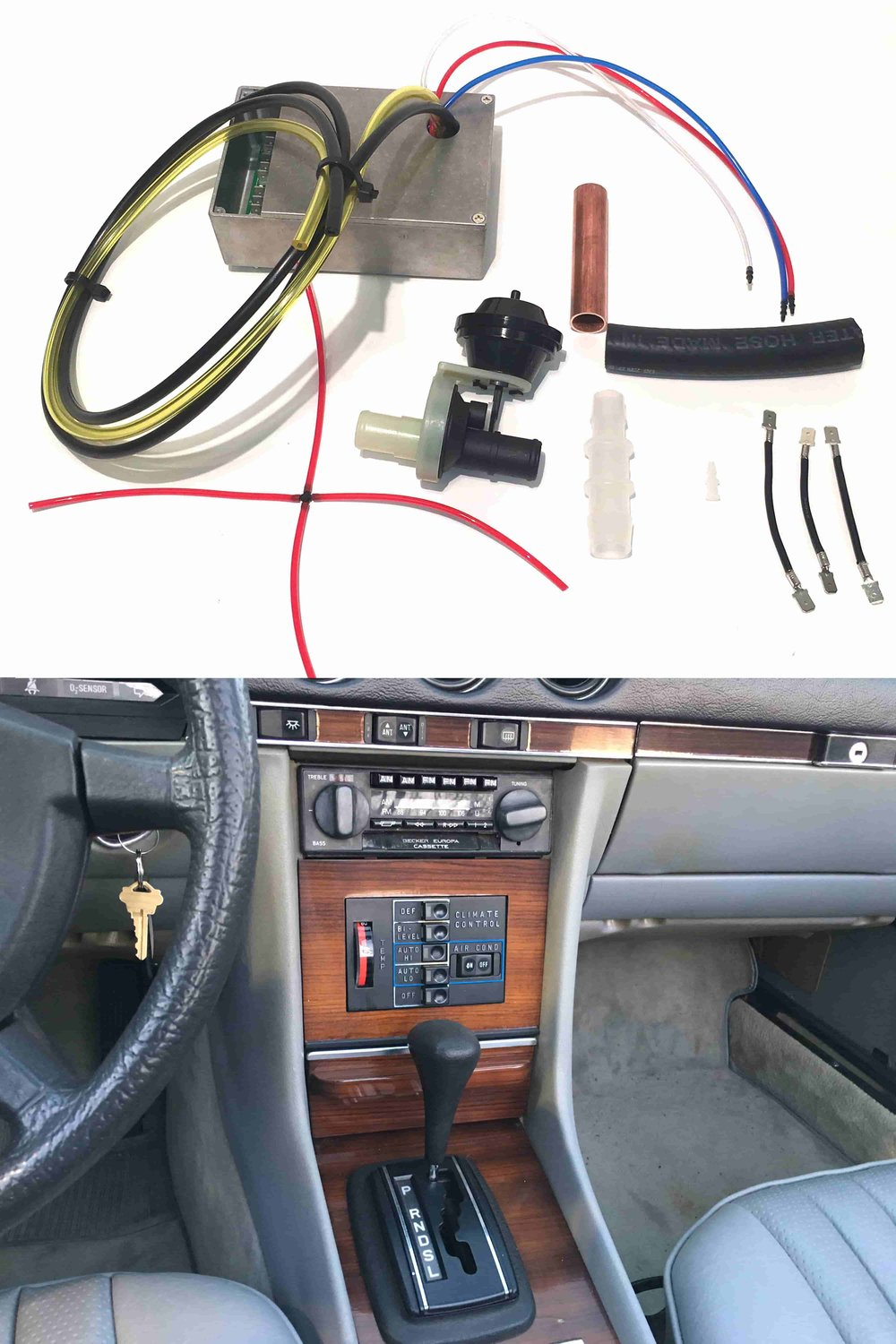 """Automatic Climate Control II Update Kit - If your w123, w116, or r107 chassis Mercedes suffers from the poorly-designed """"Automatic Climate Control II System,"""" we have exactly what you need.We created an easy-to-install kit that uses medical-grade electronic solenoid valves to replace the automatic climate control servo and amplifier. In under an hour, you can install our kit to restore your climate control system to its original functionality, without the headache of another failure-prone servo from Mercedes. The kit even preserves the original cabin control panel, so you cannot tell it has been installed!Our kit is less than half the cost of a replacement servo and amplifier or competitors' upgrade kits."""