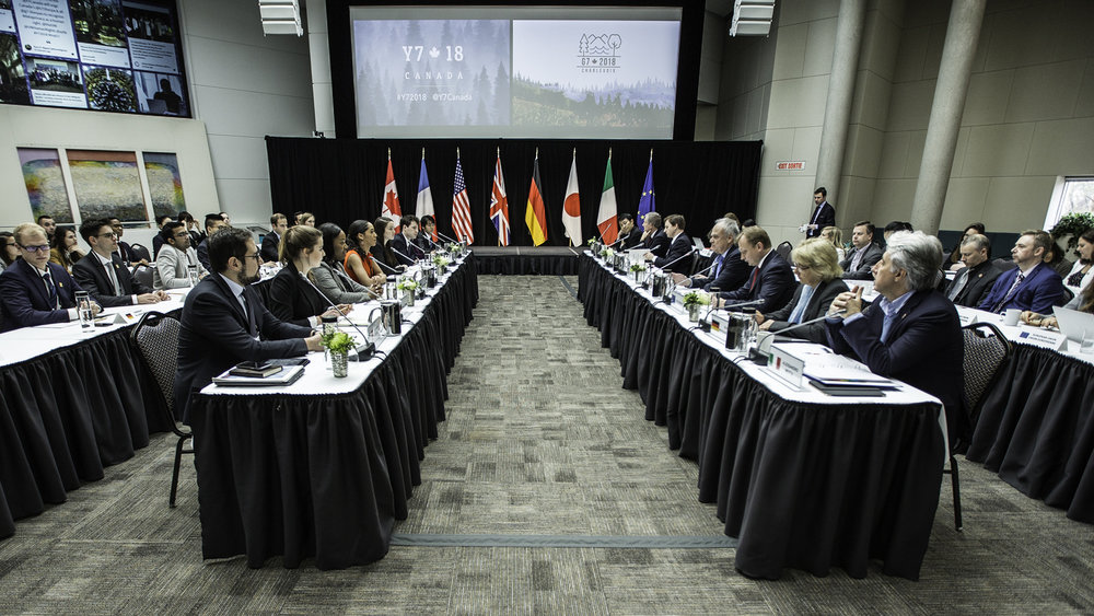 Y7 Head Delegates meeting with G7 Sherpas in Ottawa on April 18, 2018.