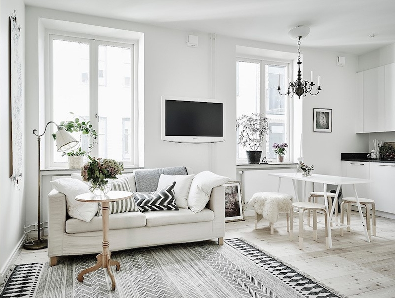 Picture Source:  http://www.hallofhomes.com/scandinavian-studio-apartment-with-bright-white-interiors/