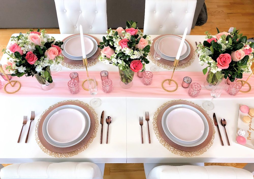 Blush Gold Tablescape Table Setting