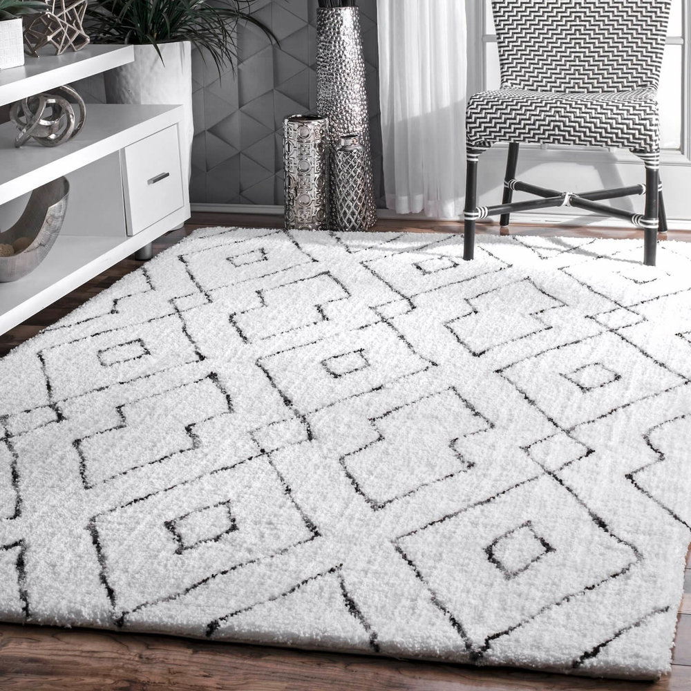 White Geometric Shag Rug Amazon