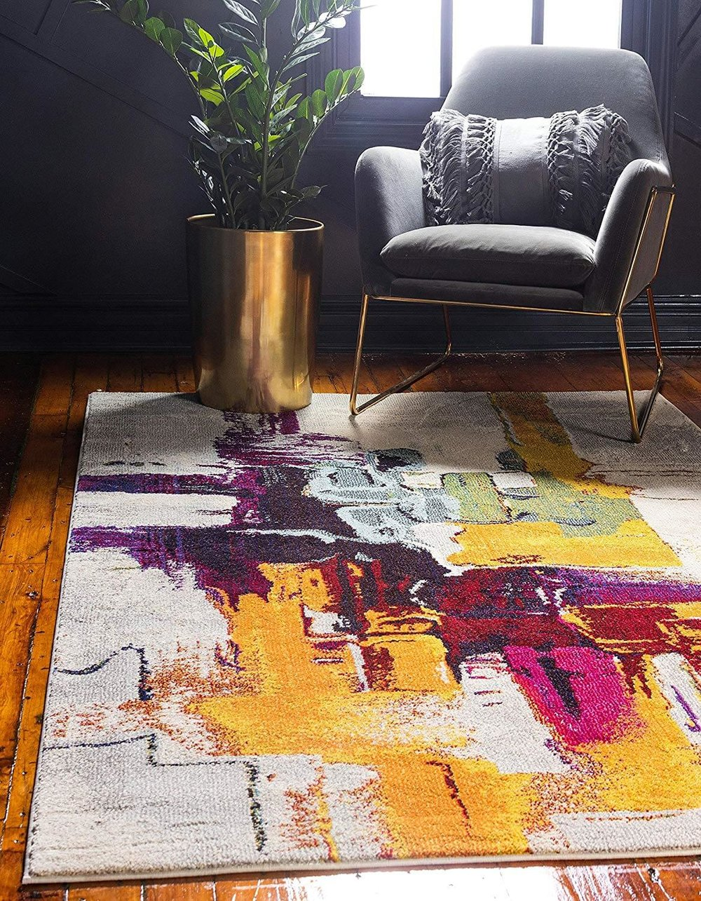 Pink Yellow Abstract Rug Amazon