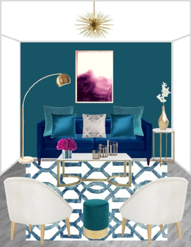 Teal Purple Glam Living Room
