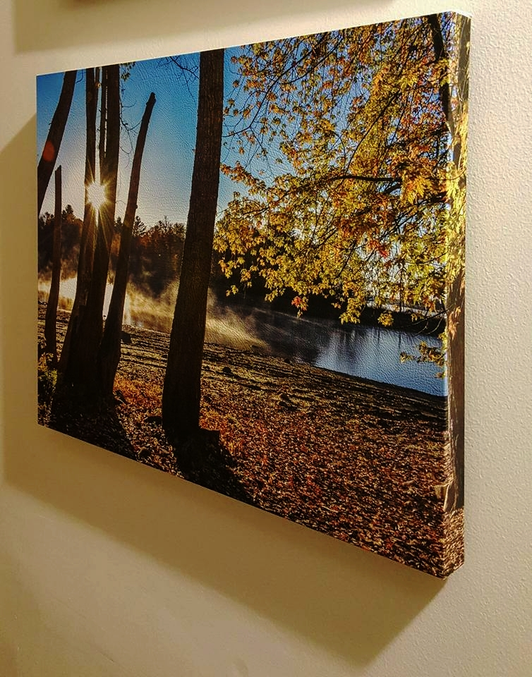 "Sacandaga Sunrise Janene Bouck 2015 Photography on Wrapped Leather 16"" x 20""  $74.00"