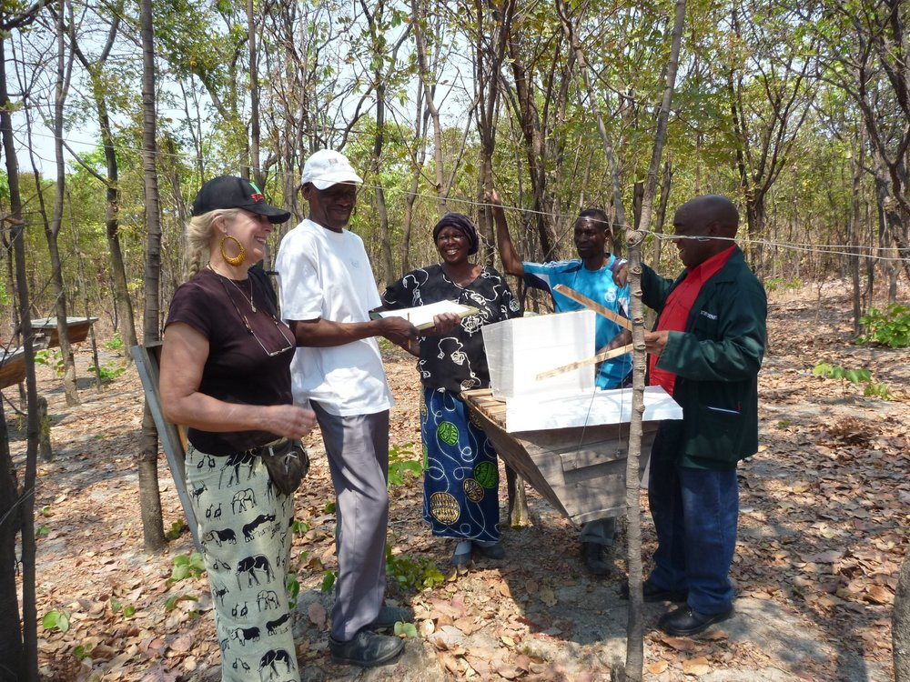 June - Bee keeping business established. Forestry Dept. was hired to train 10 villagers how to start a bee keeping business. The government donated 11 beehives, then a donation from Streetsville Rotary Club provided clothes, boots, and start up supplies. (blog post)