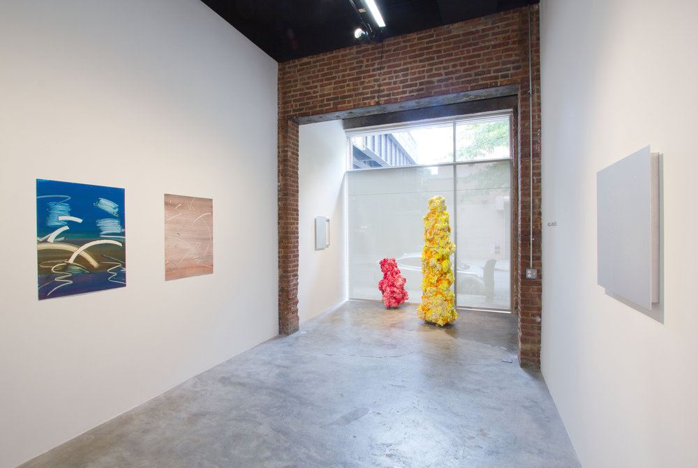 """ARIELLA WOLENS , """"INTERPRETATIONS OF THE FRAME AND GESTURE,"""" FEATURING PAN ATERSON, MIRANDA PISSARIDES & PREM SAHIB, 2012, """"YOUNG CURATORS, NEW IDEAS IV,"""" INSTALLATION VIEW"""