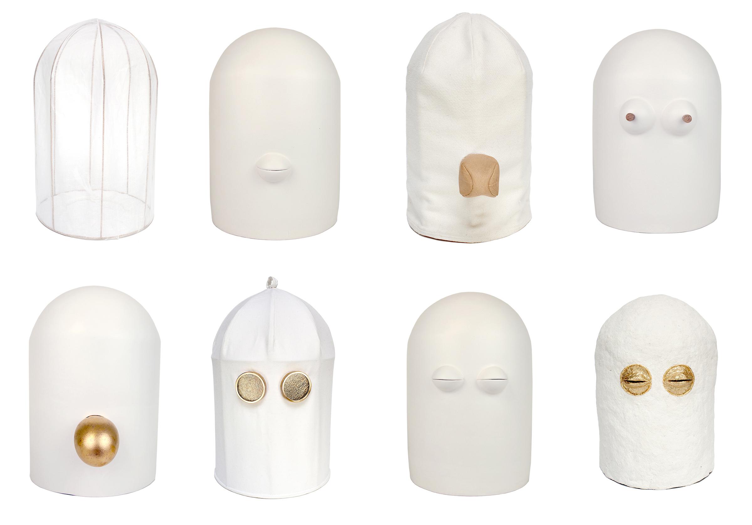 Lauren Kalman,  Avatars , 2015, Slip cast earthenware, gold-plated brass, paper mache, leather, glass, 14 x 10 x 10 in. each, Courtesy of Lauren Kalman, Photo: Lauren Kalman