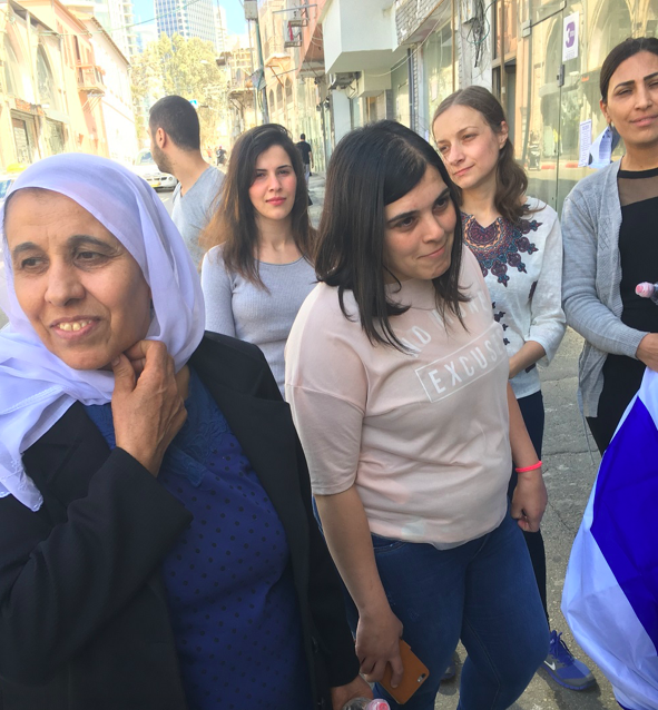 Women from the Druze village of Beit Jann demonstrate in Tel Aviv against the financy ministry's policies towards the fashion industry, March 7, 2018. (Simona Weinglass/Times of Israel)