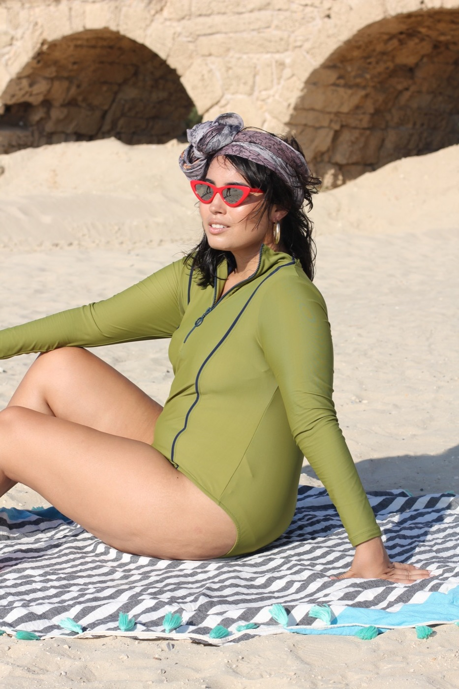 Hannah wears Scarf, Vela scarves ,  Sunglasses, TopTen ,  Sofia 4pce Swimsuit in Olive, Lyra - only 1 piece used here