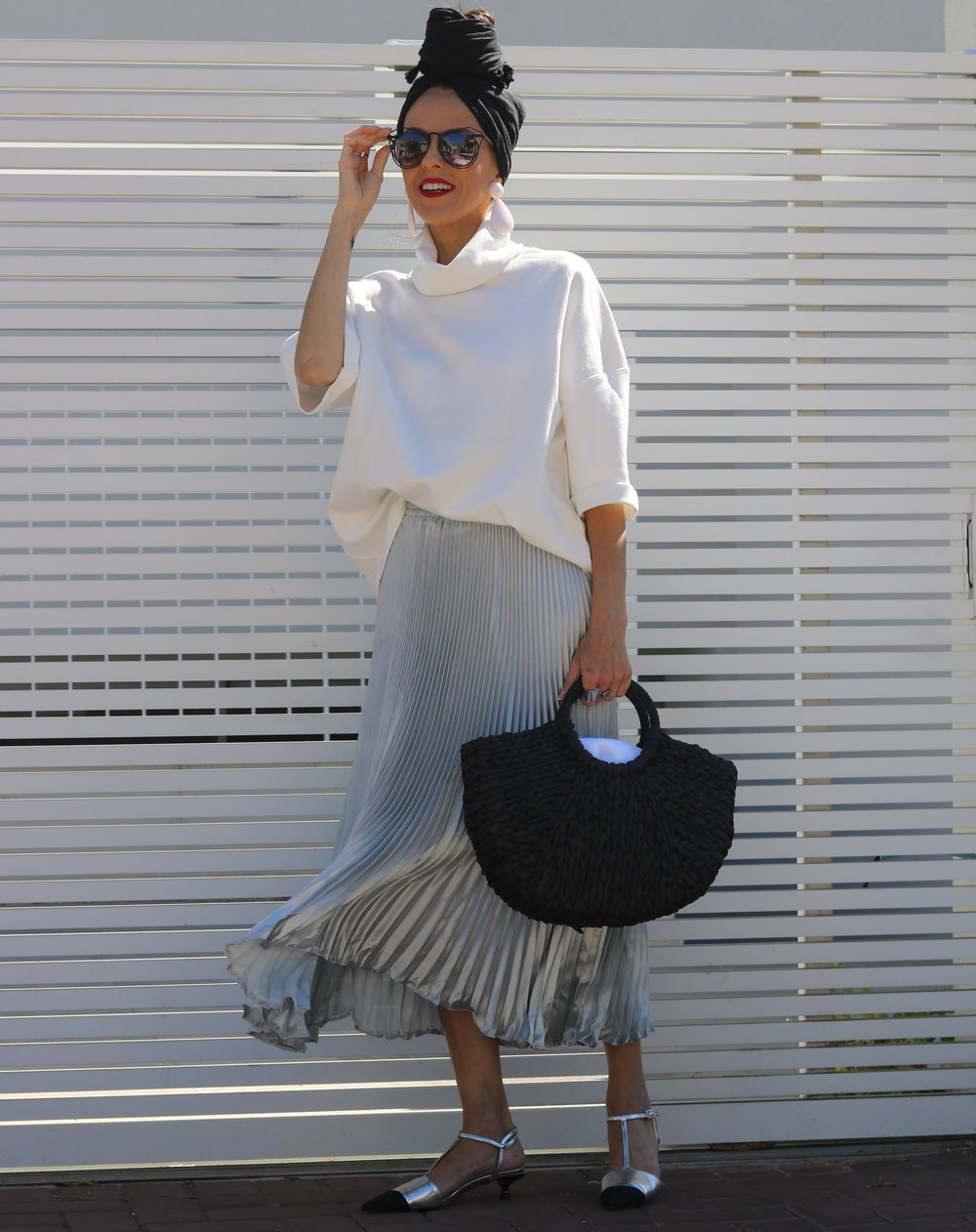 Top, Zara, Skirt, AliExpress, Shoes and Bag, both Zara, Sunglasses, Meirav's one, Earrings, Zara