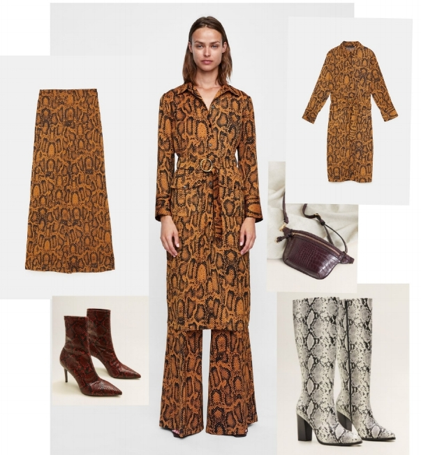 Clockwise from top: Snakeskin print pants and shirt dress, both Zara, cross body pouch, Stradivarius, white snakeskin boot, TopShop, red snakeskin boot, Mango