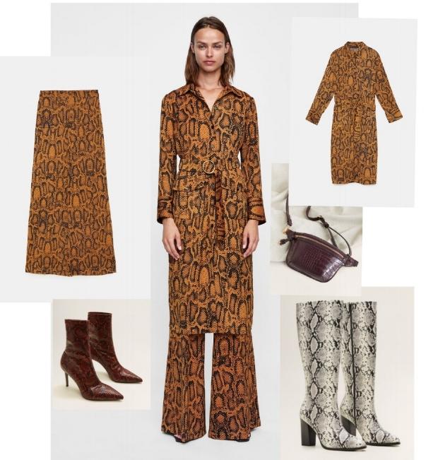 Clockwise from top: Snakeskin print pants and shirt dress, both Zara, cross body pouch, Stradivarius, white snakeskin boot, TopShop, red snakeskin boot, Mango
