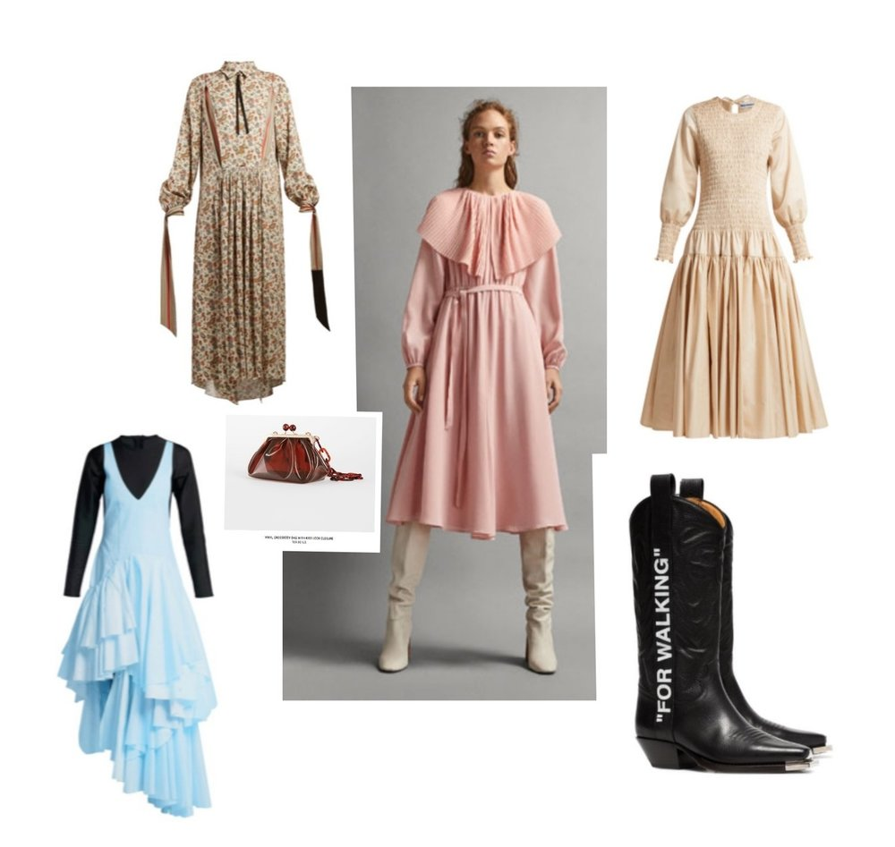 A Winter wrapt with Chav  Clockwise from top: Paisley Dress with bows, Loewe; Pink dress with collar, Massimo Dutti; Creme Dress, Molly Goddard; Black Cowboy boots, Off-White; Blue dress with black layer, Marine Serre; Plastic bag with Resin Chain, Zara