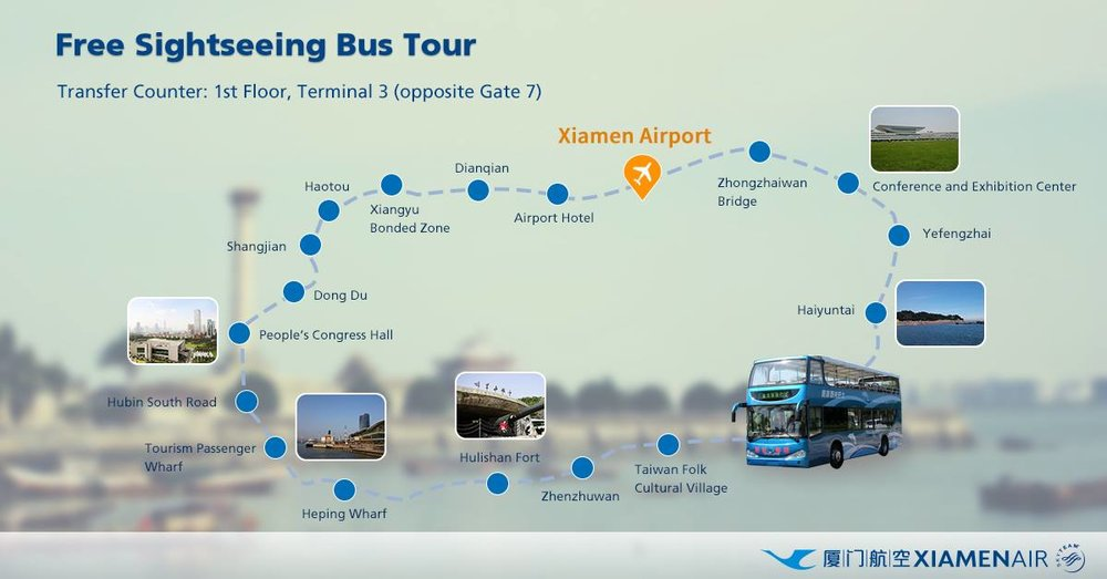 Xiamen Airlines offers transiting passengers a free city tour on a Hop-On Hop-Off bus.  The tour has 20 stops around the island of Xiamen.