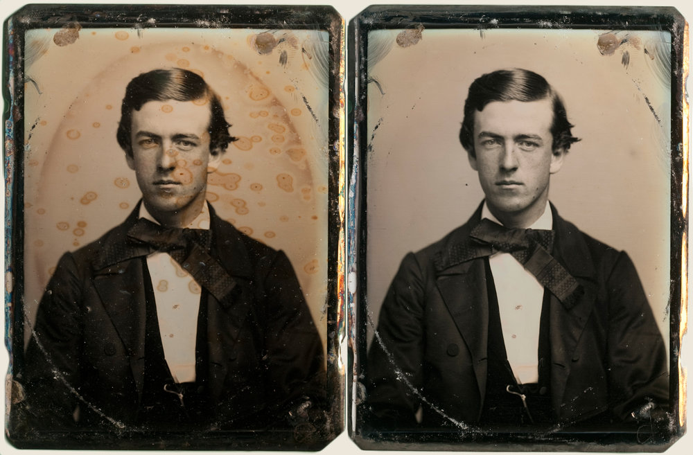 - Quarter plate daguerreotype with thiourea measles -  before and after electro-cleaning treatment