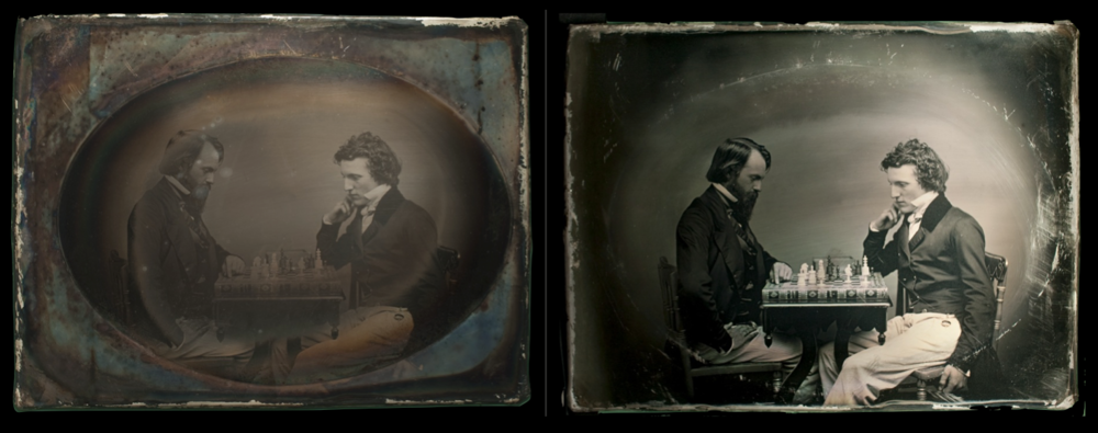 - Whole-plate daguerreotype of chess players - before and after electro-cleaning