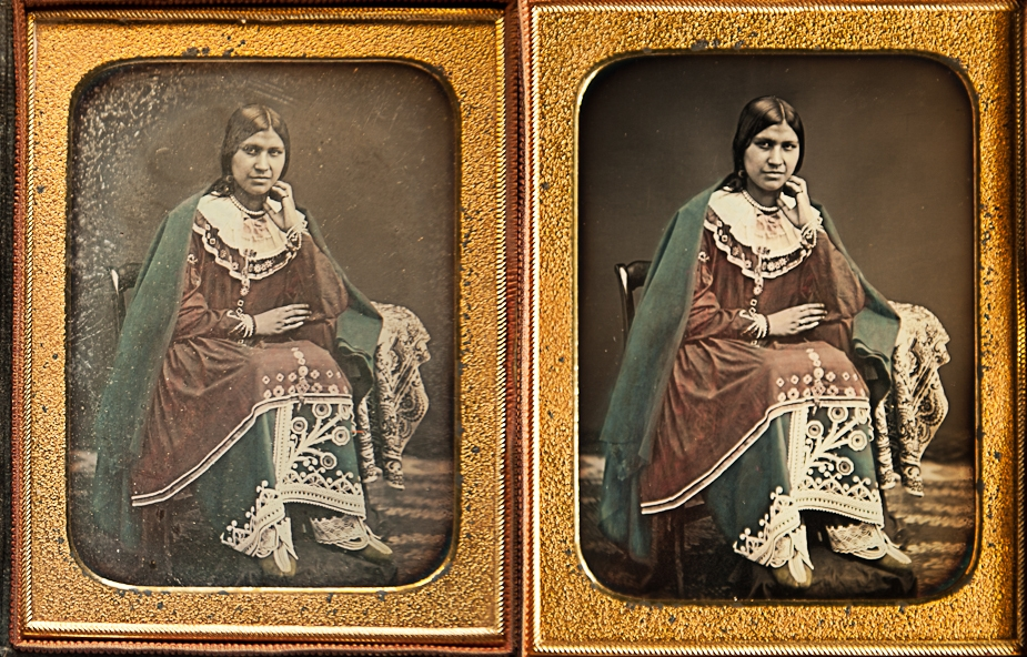 Quarter-plate daguerreotype with applied colour - before and after glass replacement