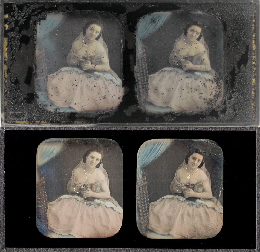 Stereo daguerreotype with deteriorated reverse paint cover glass and new replacement glass