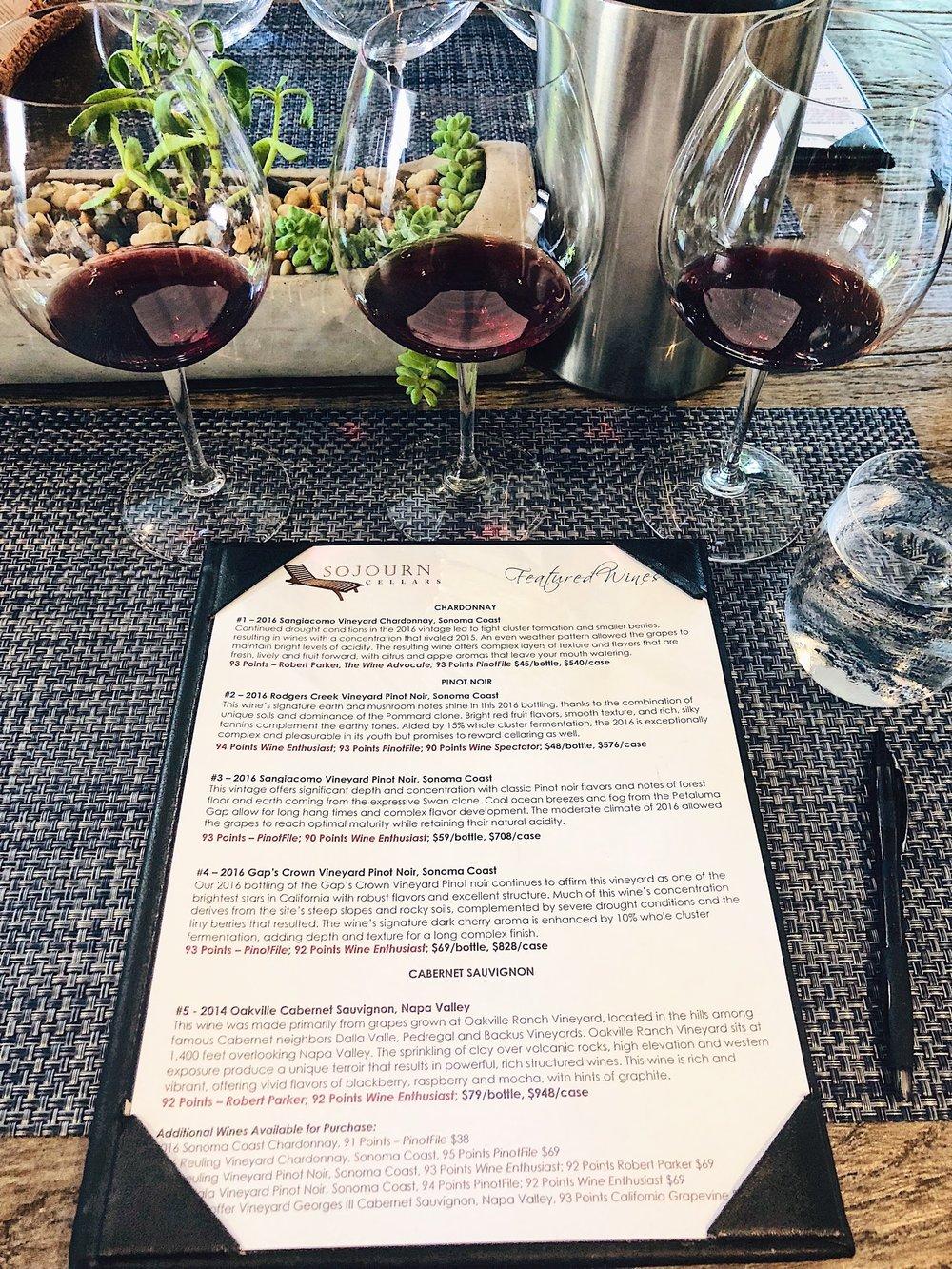 Wine Tasting At Sojourn Cellars