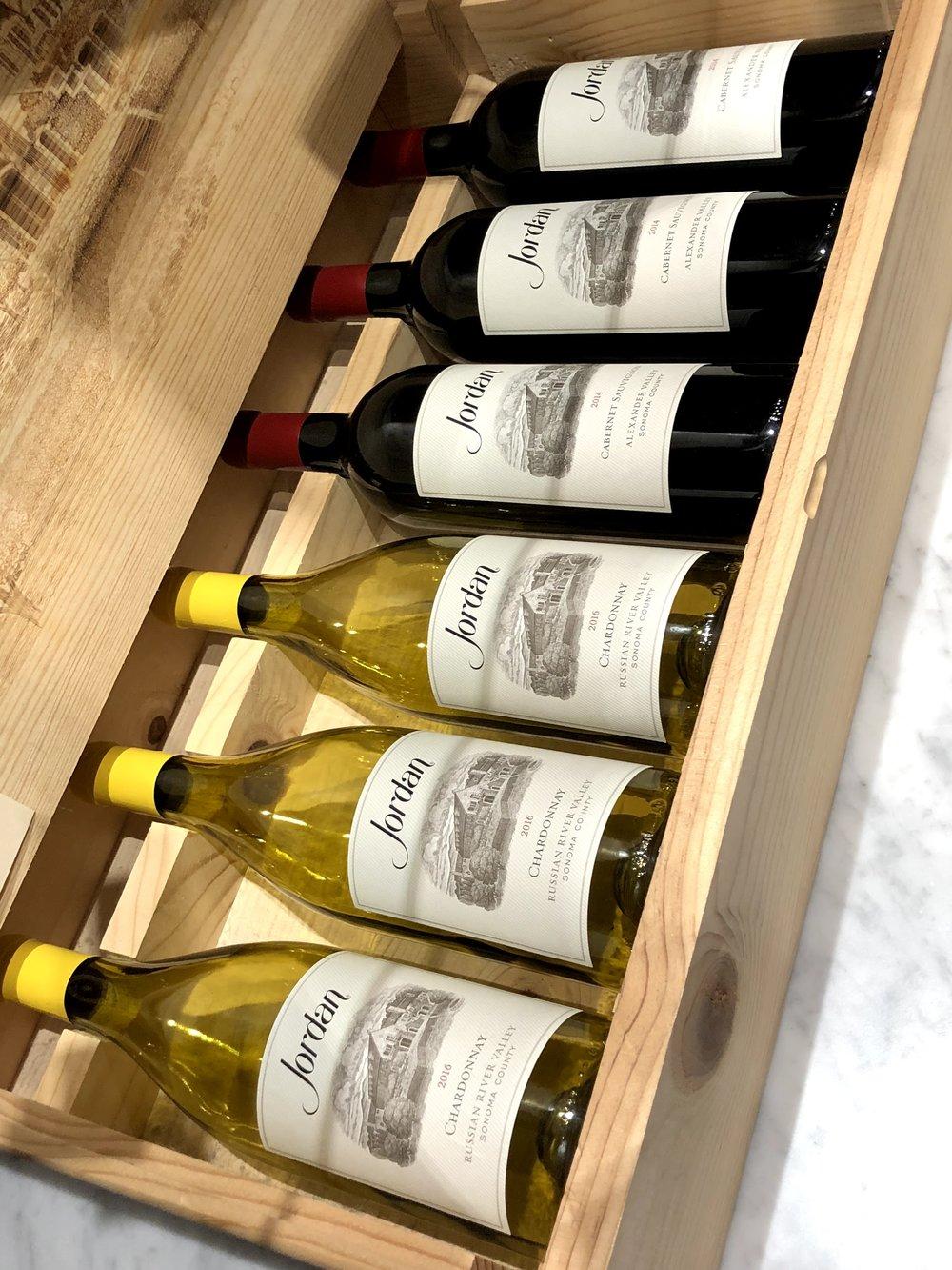 Jordan Chardonnay and Cabernet