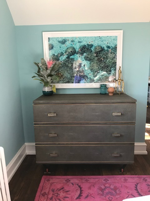 art  from Gray Malin;  dresser  from Overstock