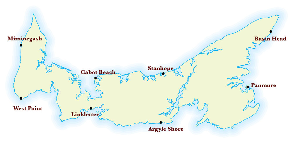 Figure 1. Map of beaches visited.