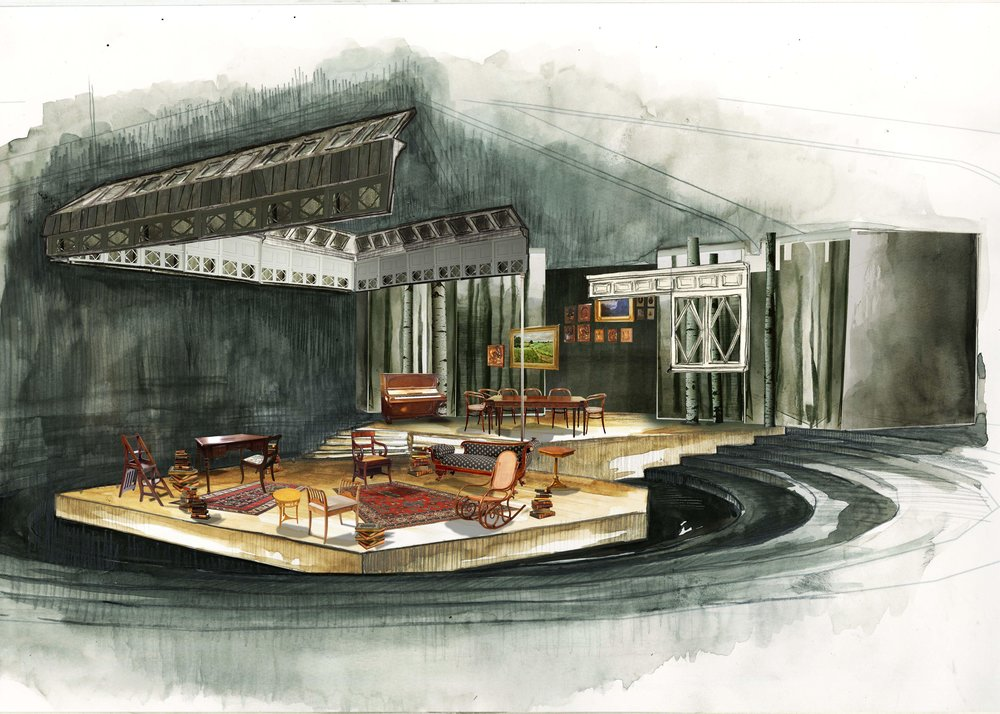 Theatre rendering for 'Three Sisters' by A.P.Chekhov