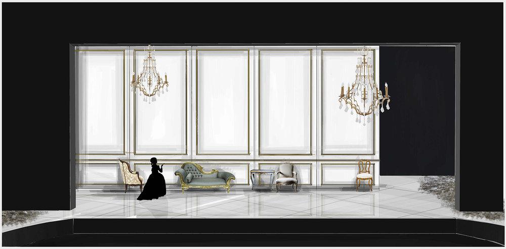 Theatre rendering for 'Les Liaisons Dangereuses' by Christopher Hampton