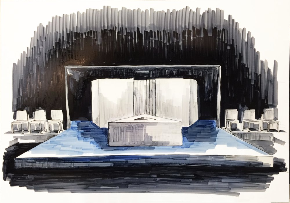 Theatre rendering for 'Top Girls' by Caryl Churchill (marker on gloss photo paper)