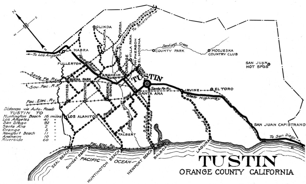 A map of the original State Highway through Orange County, circa 1915. Since it was published by the Tustin Chamber of Commerce it naturally shows that community as the center of the world ( Courtesy the Orange County Archives ).