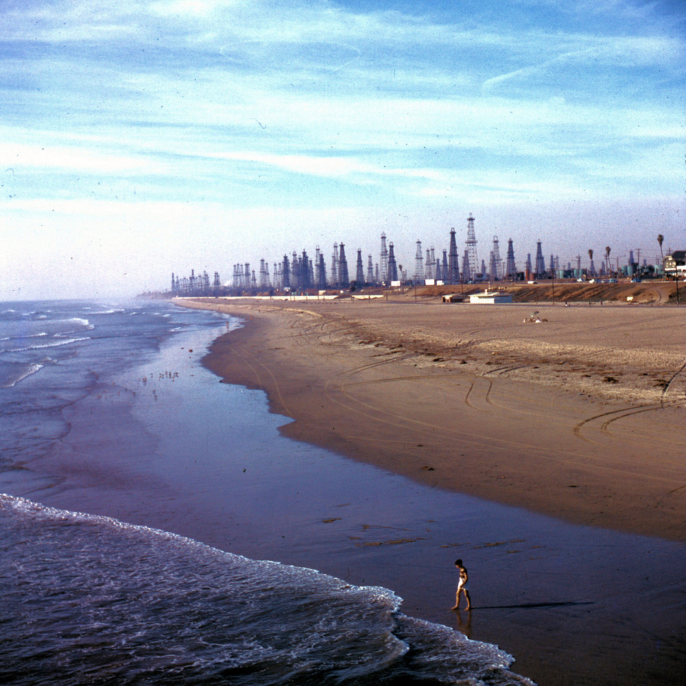 A forest of oil derricks dot the shore looking up the coast from the Huntington Beach pier, 1956 (Courtesy the Orange County Archives).