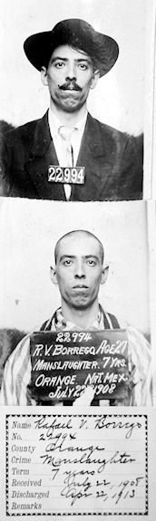 Rafael Borrego, shown before and after his arrival at San Quentin Prison, 1908. I am still hoping to find a photo of Constable Juan Orosco. (Courtesy the California State Archives)               -