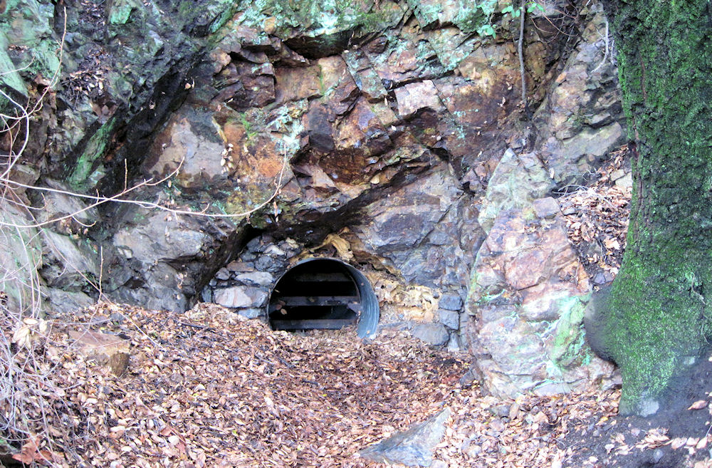 One of the sealed entrances to the Yaeger Mine, 2012. The small openings allow bats and other animals to still get in and out.