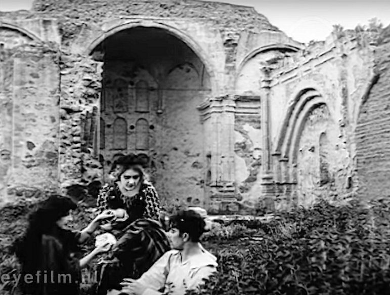 A scene from  The Two Brothers  (1910) shot within the ruins of the Great Stone Church at Mission San Juan Capistrano (Eye Film Institute).