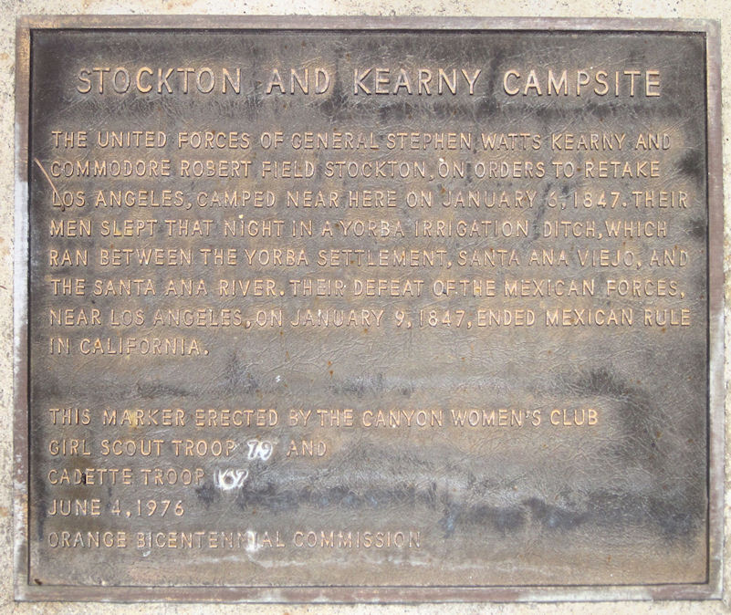 Campsite of Stockton and Kearny.