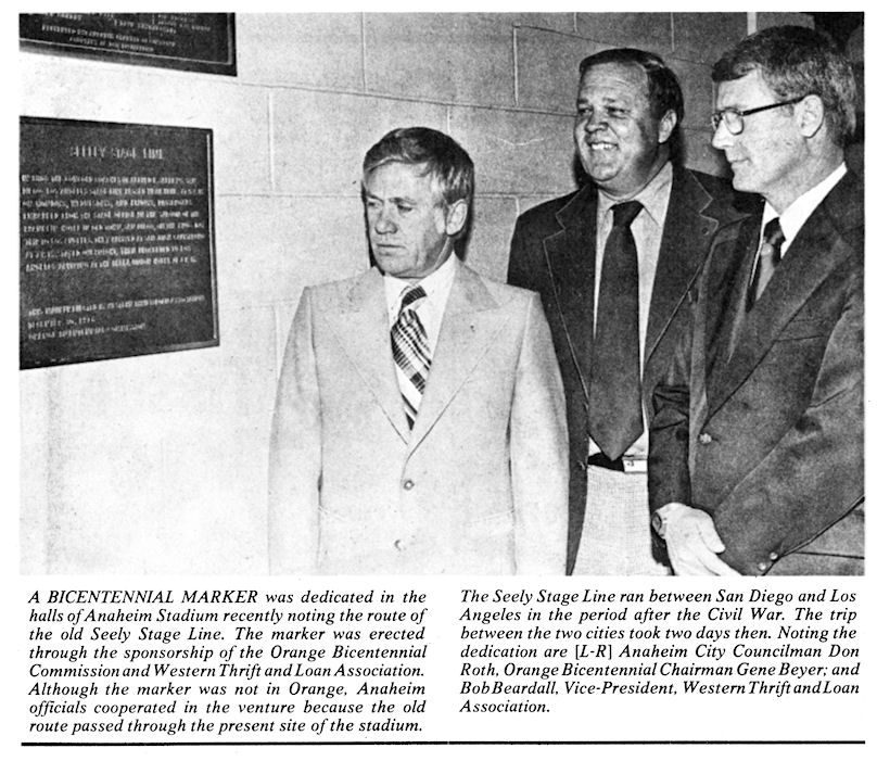 Dedication of the Seeley Stage Line marker, December 30, 1976. Orange Bicentennial Commission Chairman Gene Beyer at center.