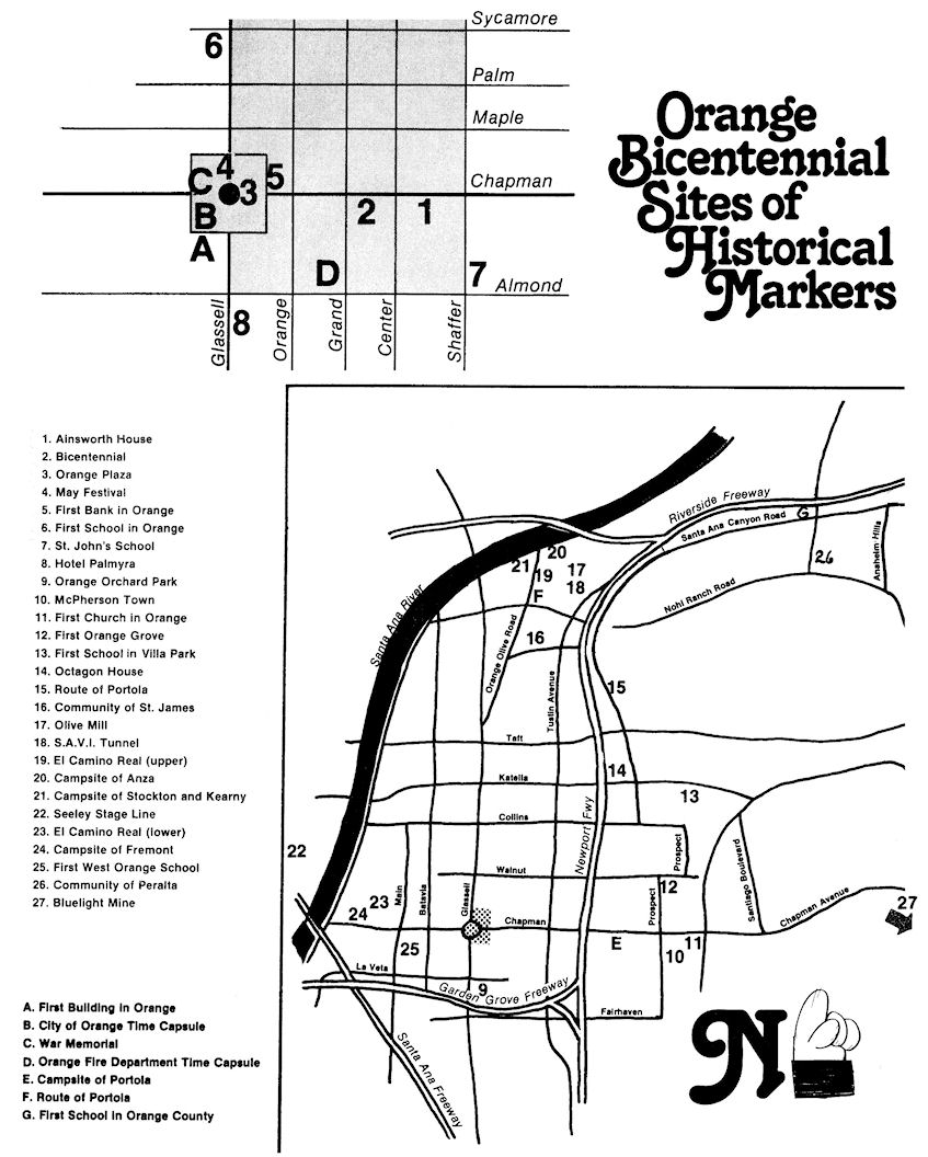 Map of Orange's Bicentennial plaques produced at the time (click to enlarge).