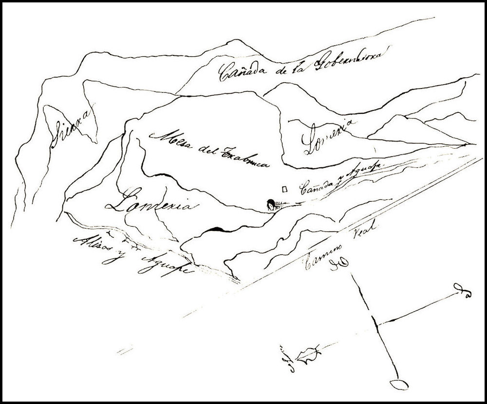An early copy of the  diseño  (sketch map) of the Rancho Trabuco (from  The Branding Iron , June 1953).