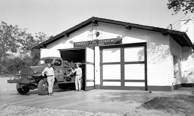 The new Trabuco volunteer fire station building, 1950 (courtesy the Orange County Archives).