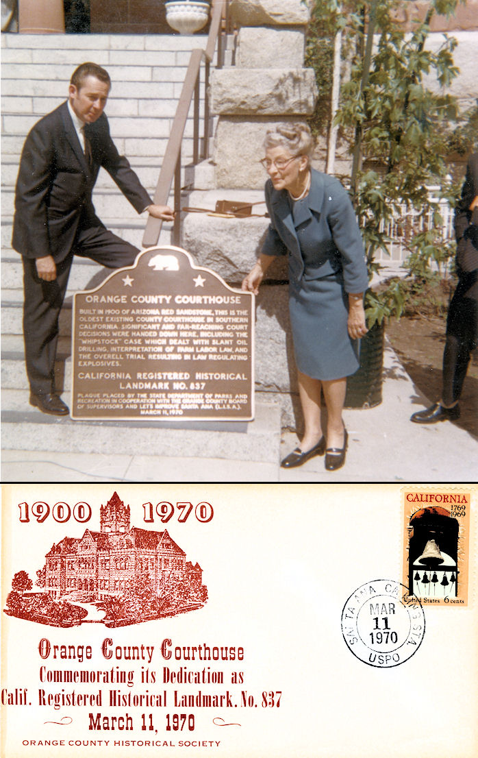 (Top) Jim Sleeper and Mrs. Weston Walker, shown on dedication day at the Old Courthouse; Mrs. Walker played an important role in having the site listed as a historical landmark. (Bottom) A commemorative postal cover issued on dedication day.