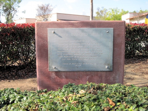 The private Red Hill plaque, placed in 2005.