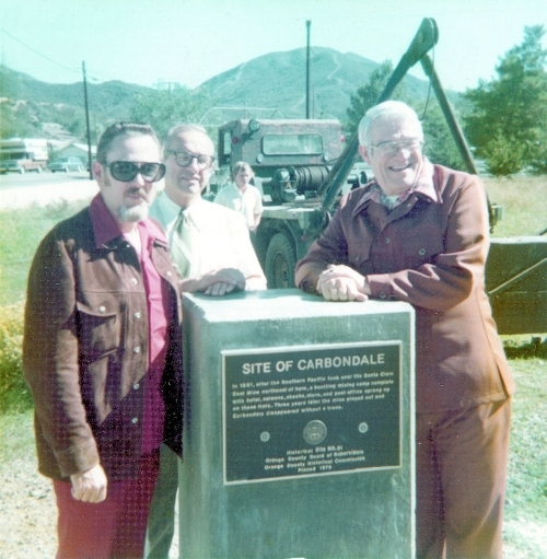 Dedication of the county historical marker for Carbondale, 1976, showing (L to R) historian Jim Sleeper, county historical commission member Lecil Slaback, and County Supervisor Tom Riley (courtesy the Orange County Archives).