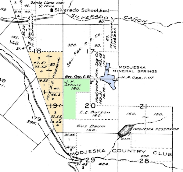 This map from the  Plat Book of Orange County  (1913) is helpful for understanding the early property ownership in the area. Williams Canyon itself runs generally along the east-west line between sections 17 and 20. Note that much of section 17 was still owned by the Southern Pacific railroad. The old Williams homestead (shown in green) was then owned by J.V. Schulz. The Pleasants ranch is shown in in gold, the diagonal line on the east is the boundary of the Irvine Ranch. The Modjeska Mineral Springs tract is shown in blue. Notice the two small parcels still owned by the Opps.