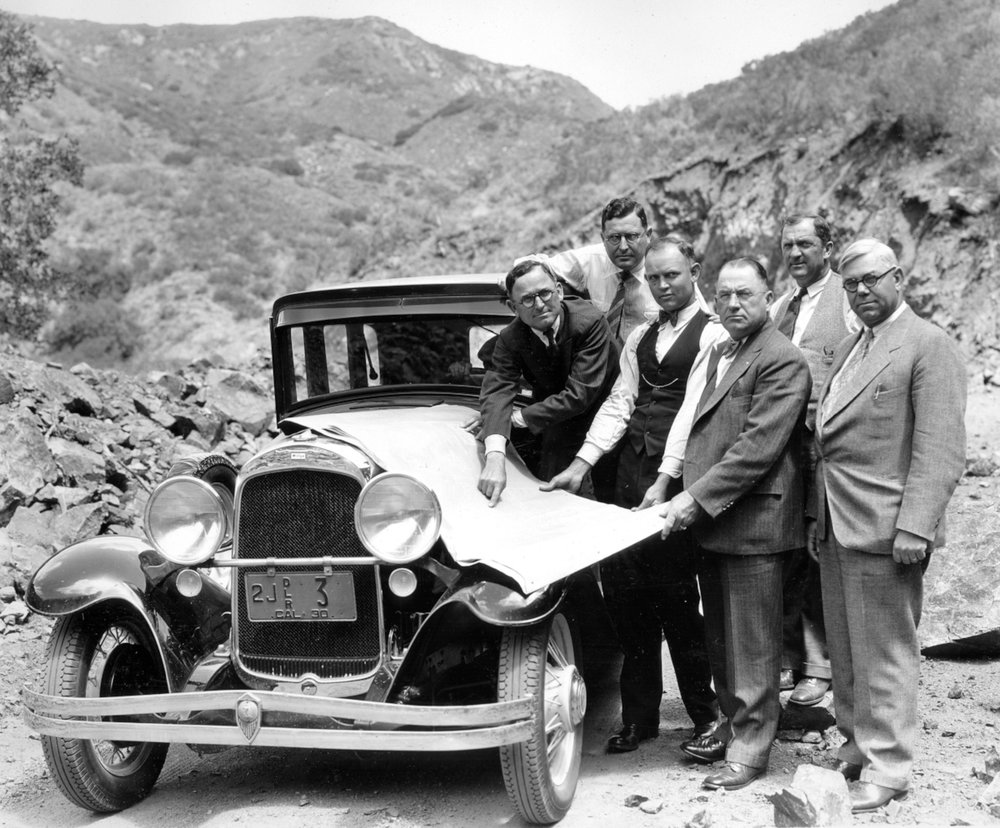 County and community officials inspect progress on the Ortega Highway, 1930. Supervisor George Jeffrey is on the left, Supervisor Willard Smith is on the right (Courtesy the Orange County Archives).