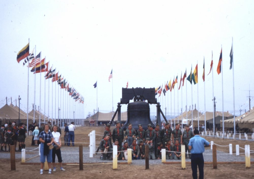 Scouts posing in the Avenue of Flags at the 1953 Boy Scout National Jamboree in Orange County.