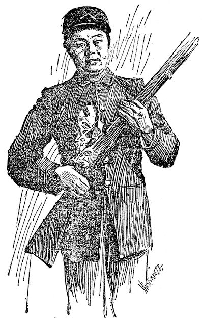 This sketch of Ong Q. Tow in his military uniform was part of newspaper feature story that ran nationwide in 1898. (Reprinted in the  Santa Ana Register , Sept. 13, 1940)