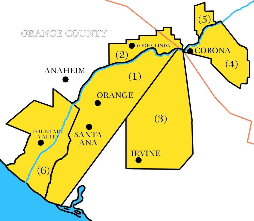 The Yorba Family Ranchos, circa 1850: (1) Rancho Santiago de Santa Ana, (2) Rancho Cañon de Santa Ana, (3) Rancho Lomas de Santiago, (4) Rancho La Sierra, (5) Rancho El Rincon, (6) Rancho Las Bolsas.