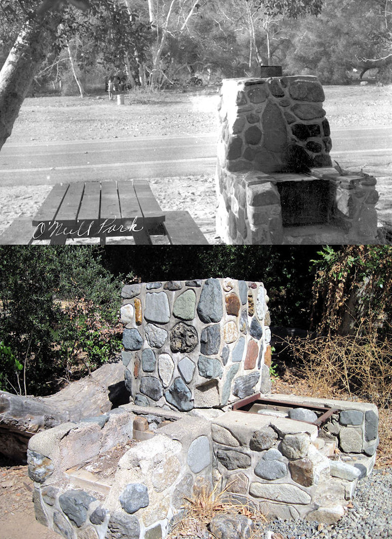A barbecue area in O'Neill Park in 1955 (top, courtesy the Orange County Archives) and the last surviving stone barbecue, unused now, in 2018.