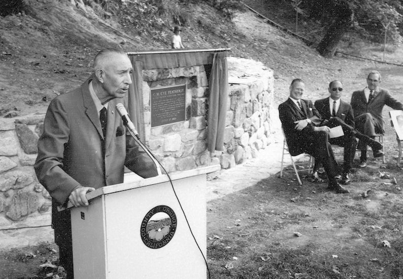 Supervisor Cye Featherly, speaking at the dedication of the tree named in his honor, 1968 (courtesy the Orange County Archives).
