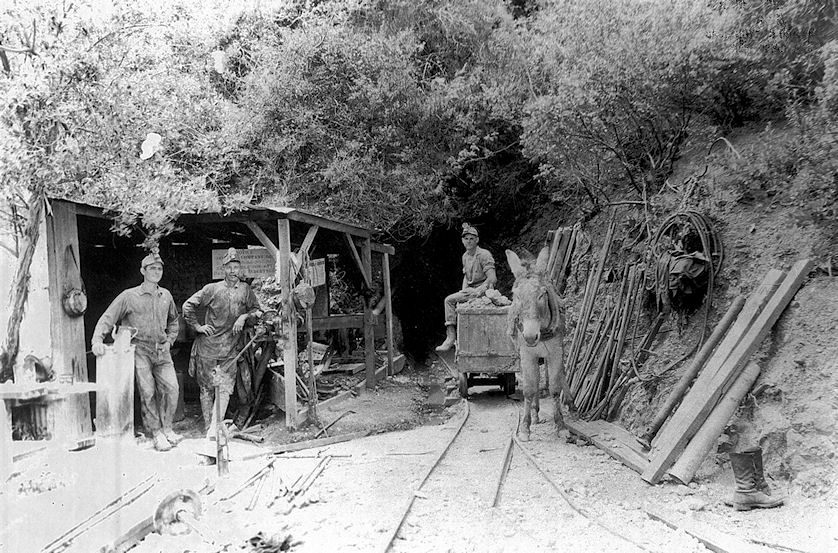 Working the Blue Light Mine, circa 1930. Longtime superintendent Orville Pember is shown in the center (courtesy the Orange County Archives).